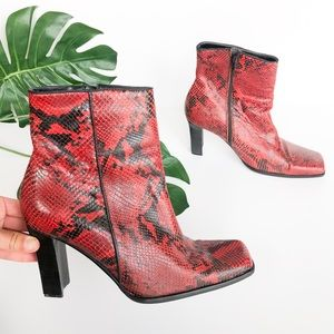 PAZZO Snake Skin Ankle Heeled Booties Red/Black 8